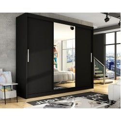 ASTON I. tolóajtós gardrób, 250*558*215 cm - fekete