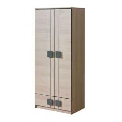 BENCE G1 akasztós+polcos szekrény, 80*52*187 cm  - santana tölgy/szürke