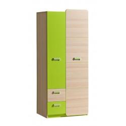EGO L1 2 ajtós+2 fiókos szekrény, 80*52*188 cm - coimbra kőris/zöld