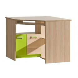 EGO L11 sarok íróasztal, 96,5*96,5*78 cm - coimbra kőris/zöld