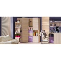 EGO L1 2 ajtós+2 fiókos szekrény, 80*52*188 cm - coimbra kőris/lila