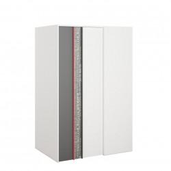 PHILOSOPHY PH-00L sarok szekrény (balos), 130*90*198 cm - grafit/piros/fehér