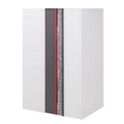 PHILOSOPHY PH-00P sarok szekrény (jobbos), 130*90*198 cm - grafit/piros/fehér