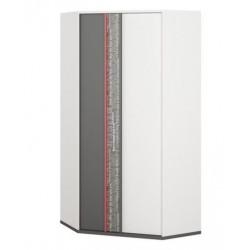 PHILOSOPHY PH-01 sarok szekrény, 95*50*198 cm - grafit/piros/fehér