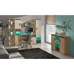 TIMO U13 sarok szekrény, 75*75*187 cm - zöld/sötét coimbra kőris