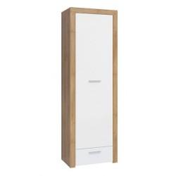 BALDER REG1D1S polcos szekrény, 62*39*192 cm - riviéra tölgy/fényes fehér