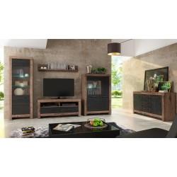 BALIN RTV2S TV állvány, 140*45*61 cm - kolostor tölgy/fekete