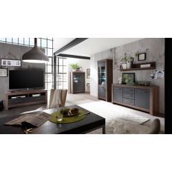 BALIN RTV2S TV szekrény, 140*45*61 cm - kolostor tölgy/fekete