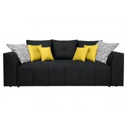 ROYAL IV Mega Lux 3DL kanapé, 247*116*96 cm - Bella 428 Yellow/Print Patio 01 White Black/Solar 99 Black