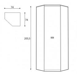 NAMUR SZFN1D sarok szekrény, 74*74*205,5 cm - világos lucfenyő