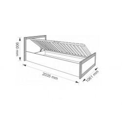 BOSS BS19/90 ágyneműtartós ágy, 90*200 cm - sonoma tölgy/csokoládé tölgy