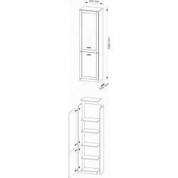 BOSS BS9 2 ajtós polcos szekrény, 55*35,5*198 cm