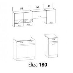 ELIZA konyhabútor, 180 cm - világos rijeka/wenge