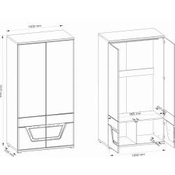 TES TS6 akasztós szekrény, 100*53,5*191 cm - dió  ÚJDONSÁG!