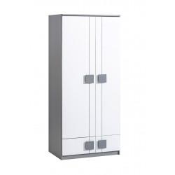 BENCE G1 akasztós+polcos szekrény, 80*52*187 cm - antracit/fehér