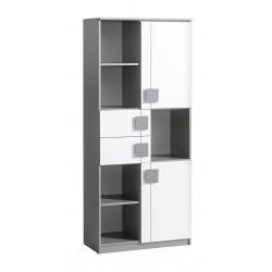BENCE G2 polcos szekrény, 80*40*187 cm - antracit/fehér