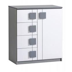 BENCE G3 1 ajtós+4 fiókos komód, 80*40*95,5 cm - antracit/fehér