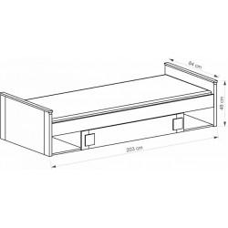 BENCE G13 ágy, 80*195 cm - antracit/fehér
