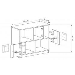 BENCE G17 alacsony polcos szekrény, 96*40*79 cm - antracit/fehér