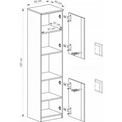 BENCE G18 polcos szekrény, 45*40*187 cm - antracit/fehér