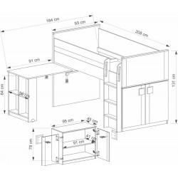 BENCE G19 galériás ágy, 104*208*131 cm - antracit/fehér