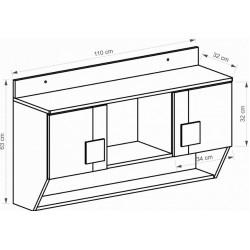 BENCE G4 fali szekrény, 110*31,5*63 cm - antracit/fehér