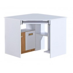 EGO L11 sarok íróasztal, 96,5*96,5*78 cm - fehér/nash tölgy