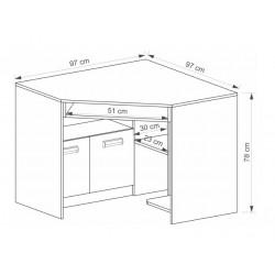 EGO L11 sarok íróasztal, 96,5*96,5*78 cm - coimbra kőris/lila