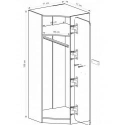 EGO L14 sarok szekrény, 71*71*188 cm - fehér