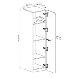 EGO L2 1 ajtós szekrény, 45*52*188 cm - coimbra kőris/lila