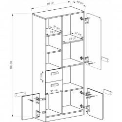 EGO L7 polcos szekrény, 80*40*188 cm - coimbra kőris/lila