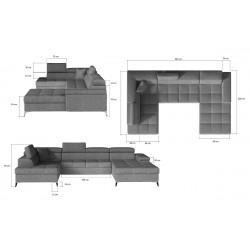 EDUARDO 08 U alakú sarokgarnitúra, 345*202*70/90 cm - balos, Monolith 29/Monolith 09
