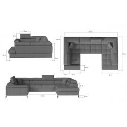 THIAGO 01 U alakú sarokgarnitúra, 350*202*70/90 cm - jobbos, Omega 68/Soft 11