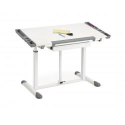 B-42 íróasztal, 113*60*61/87 cm - fehér/szürke