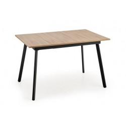 ALBON étkezőasztal, 120/160*80*76 cm - fekete/sonoma tölgy