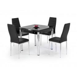 KENT üveg étkezőasztal, 120/180*80*75 cm - króm/fekete