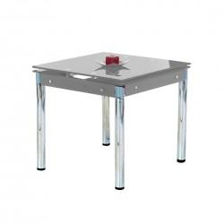 KENT üveg étkezőasztal, 120/180*80*75 cm - króm/szürke  ÚJDONSÁG!