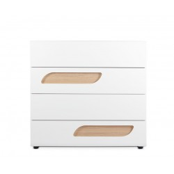 AVERO 4 fiókos komód, 110*42*103 cm - fehér 10189.04.136