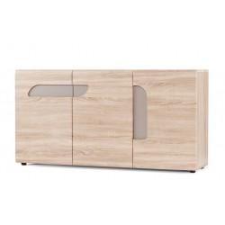 AVERO 3 ajtós komód, 165*42*86 cm - tölgy/szürke-bézs 10189.06.883