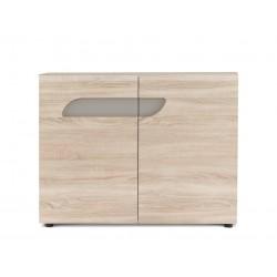 AVERO 2 ajtós komód, 110*42*86 cm - tölgy/szürke-bézs 10189.07.883