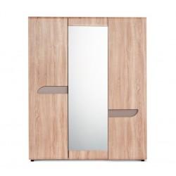 AVERO 3 ajtós tükrös gardrób, 165*58*201 cm - tölgy/szürke-bézs 10189.13.883  ÚJDONSÁG!