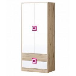 CAMBI szekrény, 80*50*190 cm - fehér/tölgy/rózsaszín 10563.01.968 ÚJDONSÁG!