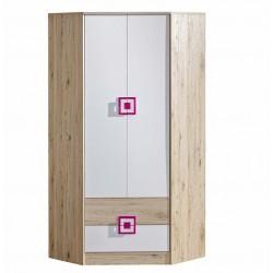 CAMBI sarok szekrény, 87*87*190 cm - fehér/tölgy/rózsaszín 10563.02.968 ÚJDONSÁG!