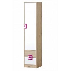 CAMBI 1 ajtós+2 fiókos szekrény, 40*40*190 cm - fehér/tölgy/rózsaszín 10563.03.968 ÚJDONSÁG!