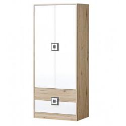 CAMBI szekrény, 80*50*190 cm - fehér/tölgy/szürke 10563.01.969 ÚJDONSÁG!