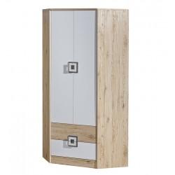 CAMBI sarok szekrény, 87*87*190 cm - fehér/tölgy/szürke 10563.02.969 ÚJDONSÁG!