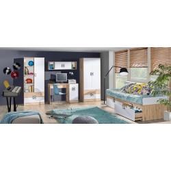 CAMBI 1 ajtós+2 fiókos szekrény, 40*40*190 cm - fehér/tölgy/szürke 10563.03.969 ÚJDONSÁG!