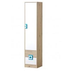 CAMBI 1 ajtós+2 fiókos szekrény, 40*40*190 cm - fehér/tölgy/türkiz 10563.03.967 ÚJDONSÁG!