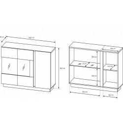 ARCO K2W1D tálalószekrény, 138,2*40*90,5 cm - grafit/artisan tölgy  ÚJDONSÁG!
