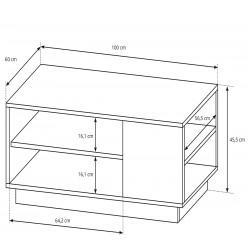 ARCO L100 dohányzóasztal, 60*100*45,5 cm - grafit/artisan tölgy  ÚJDONSÁG!